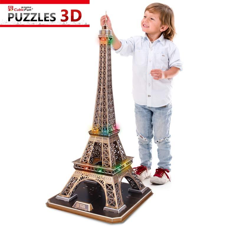 puzzle 3d avec led la tour eiffel difficult 6 8. Black Bedroom Furniture Sets. Home Design Ideas