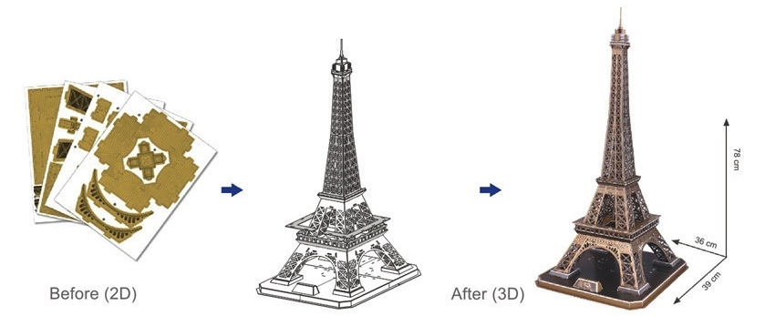 puzzle 3d france paris tour eiffel 82 teile cubic fun puzzle acheter en ligne. Black Bedroom Furniture Sets. Home Design Ideas