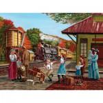Puzzle  Cobble-Hill-52041 Pièces XXL - En Attendant le Train