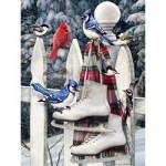 Puzzle  Cobble-Hill-52077 Pièces XXL - Greg Giordano : Oiseaux avec Patins