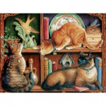 Puzzle  Cobble-Hill-52096 Pièces XXL - Bibliothèque à Chats