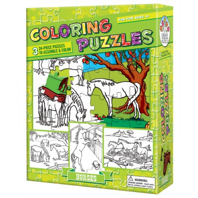 3 puzzles colorier les chevaux 24 teile cobble for Puzzle a colorier gratuit