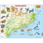 Larsen-A28 Puzzle Cadre - Carte de la Catalogne et ses Animaux (en Catalan)