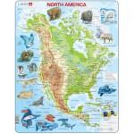 Larsen-A32-2 Puzzle Cadre - Carte de l'Amérique du Nord et ses Animaux (en Anglais)