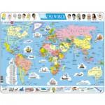 Larsen-K1-GB Puzzle Cadre - Carte du Monde (en Anglais)