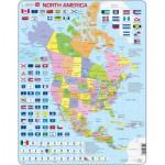 Larsen-K17-GB Puzzle Cadre - Carte de l'Amérique du Nord (en Anglais)