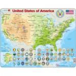 Larsen-K36 Puzzle Cadre - Carte des Etats-Unis (en Anglais)