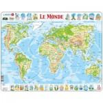 Larsen-K4-FR Puzzle Cadre - Carte du Monde (en Français)