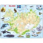 Larsen-K7 Puzzle Cadre - Carte de l'Islande (en Islandais)