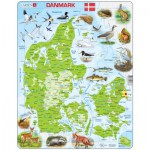 Larsen-K78 Puzzle Cadre - Carte du Danemark (en Danois)
