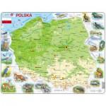 Larsen-K98 Puzzle Cadre - Carte de la Pologne et ses Animaux (en Polonais)