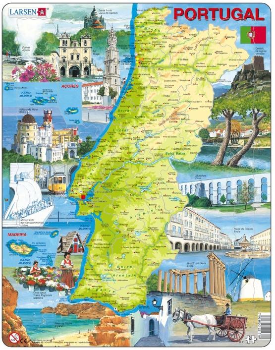 puzzle cadre carte du portugal en portugais 64 teile. Black Bedroom Furniture Sets. Home Design Ideas
