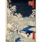 Puzzle  Grafika-Kids-00274 Utagawa Hiroshige : Drum bridge at Meguro and Sunset Hill, 1857