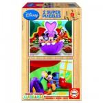 Educa-13467 2 Puzzles en bois - Le  Club de Mickey