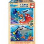 Educa-16695 2 Puzzles en Bois - Finding Dory