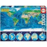 Educa-16760 Puzzle Néon - Carte du Monde