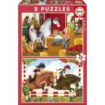 Educa-17150 2 Puzzles - Chevaux