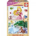 Educa-17163 2 Puzzles en Bois - Princesses Disney