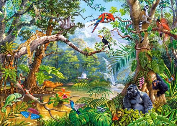 2 Puzzles Animaux De La Savane Et De La Jungle 70 Teile Castorland Puzzle Acheter En Ligne