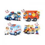 Castorland-04393 4 Puzzles - Services de Secours