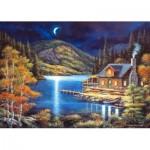 Puzzle  Castorland-102990 Cottage au claire de lune