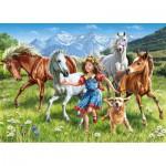 Puzzle  Castorland-13029 La fillette et les chevaux dans le pré