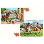 Castorland-21079 2 Puzzles - A cheval