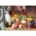 Puzzle  Castorland-300143 Nature morte avec fruits et cacatoès