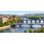 Puzzle  Castorland-400096 République Tchèque, Prague : Pont Vltava