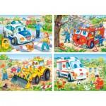 Castorland-4324 4 Puzzles : Véhicules rigolos