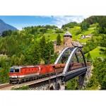 Puzzle  Castorland-52462 Train on the Bridge