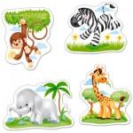 Castorland-B-005017 4 Puzzles -Pièces Maxi - Animaux d'Afrique