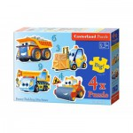 Castorland-B-005024 4 Puzzles - Pièces Maxi - Engins de Chantier Rigolos