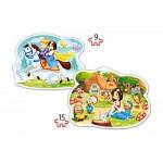 Castorland-B-020041 2 Puzzles Forme - Blanche Neige et les Sept Nains