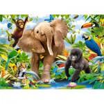 Puzzle  Castorland-B-035021 Les Petits des Animaux de la Jungle