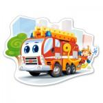 Castorland-B-120109 Puzzle Forme - Camion de Pompier