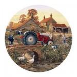 Gibsons-G3013 Puzzle 500 pièces rond -Arrivée à la ferme