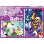 Schmidt-Spiele-56114 2 puzzles : 7 1/2 dragons