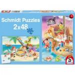 Schmidt-Spiele-56133 2 Puzzles - Bande de Pirates