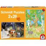 Schmidt-Spiele-56157 2 Puzzles - Animaux de la Forêt