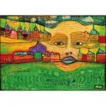Puzzle-Michele-Wilson-W590-12 Puzzle en Bois - Friedensreich Hundertwasser: Irinaland sur les Balkans, 1969