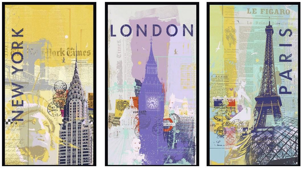 New york londres paris 3x500 pi ces puzzle triptyque - Tableau paris londres new york ...