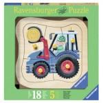 Puzzle  Ravensburger-03229 Encastrement en Bois - Tracteur