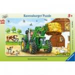 Ravensburger-06044 Puzzle cadre - Tracteur à la ferme