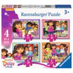 Ravensburger-07160 4 Puzzles - Dora