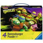 Ravensburger-07299 4 Puzzles - Tortues Ninja