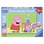 Ravensburger-07573 2 Puzzles - Peppa Pig: La Fratrie