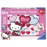 Ravensburger-08854 2 Puzzles - Hello Kitty