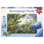 Ravensburger-08890 2 Puzzles - Dinosaures : Les Géants Primitifs