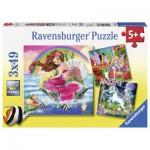 Ravensburger-09367 3 Puzzles - Mondes Fantastiques